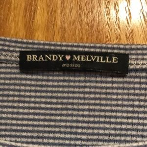 Brandy Melville Tops - Brandy Melville cropped blue and white shirt